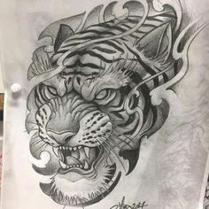 - Best Picture For tiger tattoo For Your Taste You are looking for something, and it is going to te - Tiger Hand Tattoo, Japanese Tiger Tattoo, Tiger Tattoo Design, Japanese Tattoo Designs, Body Art Tattoos, Hand Tattoos, Sleeve Tattoos, Tattoo Sketches, Tattoo Drawings