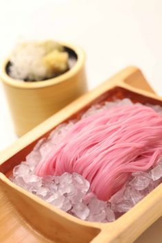 Japanese Pink Ume (plum)Soba Noodles - I thought this was a pink wig on ice when I first saw it.