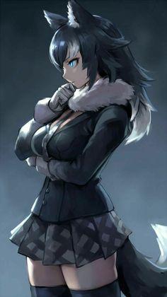 Kemono Friends, Grey Wolf, by Oopartz Yang Anime Girl Neko, Manga Girl, Chica Gato Neko Anime, Manga Anime, Manga Sexy, Anime Wolf Girl, Manga Kawaii, Cool Anime Girl, Beautiful Anime Girl