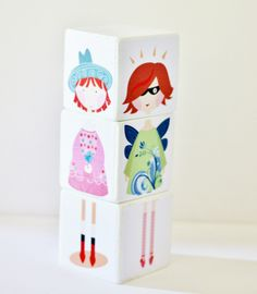 Gorgeous 7cm wood block set made up with four different girls/ladies  as pictured (princess, fairy, superhero,cowgirl). (order may be different than pictured). These are such a perfect size for young ones – not so small that they will get lost or the impact of the design is reduced :-) I do not use smaller blocks for any of my designs as these need to be seen AND be easy to play with so are a perfect size!  3 x Natural wood blocks decorated with paper, BABY SAFE eco paint and non toxic ...