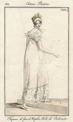 Side view of white gown, 1812 Costume parisien