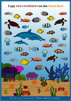 I spy game - Find and count sea creatures on the Coral ReefA fun game that teaches observation and counting for children.Get it for your children or students and have fun.Keep the solution page until the end.Children can play this game individually or in a group.Written and illustrated by Noora Ahmed Alsuwaidi