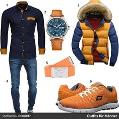 Stylisher Herren-Look in Blau & Orange (m0017) #style #mode #inspiration #menswear #herrenmode #fashion