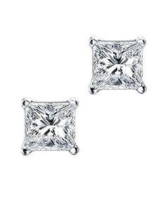 Princess Cut Square CZ Basket Set Sterling Silver Stud Earrings 7mm. Sterling Silver. Square Cut Simulated Diamond. 4 Prongs Basket Set. 7 Millimeters. Unisex; For Pierced Ears Only.