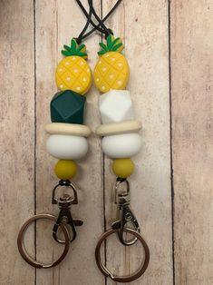 Teacher lanyard cute lanyard pineapple beaded lanyard | Etsy Cute Lanyards, Beaded Lanyards, Teacher Appreciation Gifts, Teacher Gifts, Lanyard Keychain, Sweet Peach, Id Badge, Pineapple, Beads