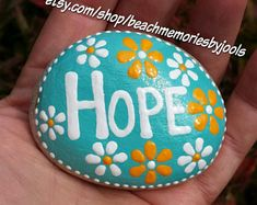 Hope rock, gift of hope, painted stone, painted rock, get well soon gift, motivational gift, inspirational art, meditation aid, rock art