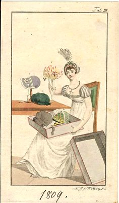 1809 Fashion plate showing a young lady adorning her caps and bonnets.