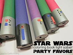 Homemade Star Wars Lightsaber Coloring Book Party Favors - Mad in Crafts