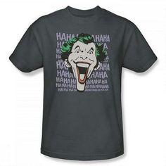 Joker Dastardly Merriment Adult Charcoal Gray T-Shirt