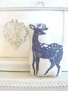 Plush Deer Pillow. Hand Woodblock Printed.