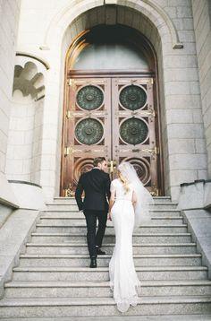 modest wedding dress with half sleeves from alta moda. --     photo: jessica janea