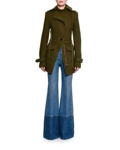 -6PYC Alexander McQueen  Felted Wool Two-Pocket Cargo Jacket, Olive Obsession Short-Sleeve Ruffled Blouse, White Two-Tone Denim Flare-Leg Jeans