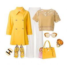 Yellow power - Il giallo è uno dei colori che dona a tutte le donne, soprattutto le more e le rosse e può essere abbinato in tanti modi. Nel nostro look del giorno abbiamo pensato di unirlo al più classico sabbia, al bianco e persino all'animalier, e questo è il risultato: crop top di Sea, doppiopetto di Michael Kors, pantalone di Topshop, scarpe di Valentino, borsa Miu MIu, bracciale di Maiyet Narrow, anello Unique Citrine e sunglasses di Karen Walker.