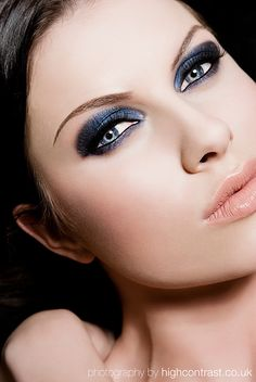 Blue eyeshadow and pink lipstick
