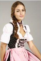 3tlg. Streublumen Dirndl schwarz rosa mit Bluse und Schuerze