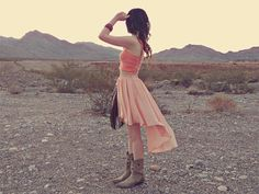 Coral short top and long wavy skirt with grey boots and accessories ♥