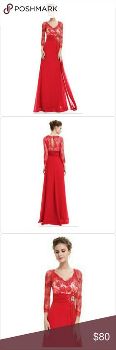 """Beautiful Red Evening Gown Size 12 Beautiful Red Evening Gown with Ruched Waist. Rhinestones decorate the waist area. Lined. No stretch. Measurements Bust 40"""" Waist 34"""" Hips 44"""" Sleeve Length 18""""-19"""" Sleeve Opening 9""""-10"""" Shoulders across 16"""" Dresses Prom"""