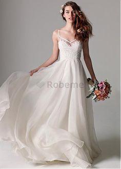 Robe de mariée de plage de organza de luxe a-ligne appliques en tulle