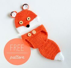 Crochet Baby Hat and Diaper Cover - Baby Fox