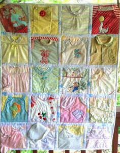 Memory Quilt made from Baby Clothes (Deposit) Baby Memory Quilt, Memory Pillows, Memory Quilts, Old Baby Clothes, Baby Clothes Quilt, Quilting Projects, Sewing Projects, Quilted Clothes, Diy Bebe