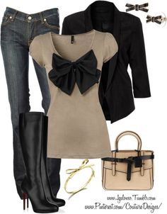 """""""Couture Chic Designs- Outfit"""" by jgalonso ❤ liked on Polyvore--- loving the bow shirt, I'd switch up the boots for different ones just cuz i would not last 2 hours in those lol"""