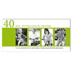 Runde Geburtstage - Einladung Kinderfotos - 1 Party Time, Polaroid Film, Invitations, Photos, Cards, Childhood, 40 Birthday, Map Invitation, Photo Kids