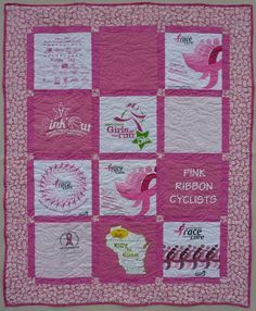 Pink Ribbon Quilt, Breast Cancer Awareness, T-shirt quilts