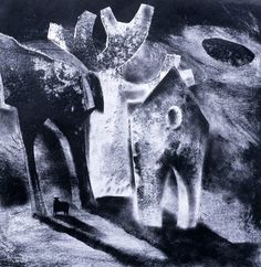 'The Ghost of a Sheep II' by Clive Hicks-Jenkins, 2003 (oil and collage on paper)
