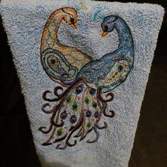Peacocks  Machine Embroidered  Microfiber by HeartSongCreativeExp, $15.00 Beautiful Kitchen Microfiber Towel...Great Gift Idea!