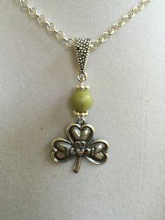Celtic Shamrock and Connemara Marble Necklace by joytoyou41