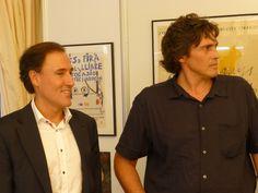 Joaquim Bejarano, director de l'Àrea del llibre del ICEC i Didier Lourenço, l'autor del cartell