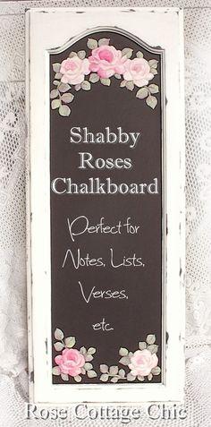 Shabby Roses Chalkboard on Cupboard Door 135.00