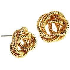 Diane von Furstenberg Knotted Snake Chain Stud Earrings ($24) ❤ liked on Polyvore featuring jewelry, earrings, gold colored earrings, gold stud earrings, golden earring, knot jewelry and yellow gold stud earrings