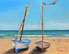 "Daily Paintworks - ""Boats on the beach"" - Original Fine Art for Sale - © Marco Vazquez"