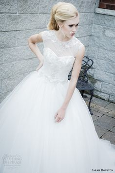 http://www.weddinginspirasi.com/2014/08/13/sarah-houston-spring-2015-wedding-dresses/ Sarah Houston 2015 #bridal collection: Savoy #wedding dress with illusion neckline #weddingGown #weddingDress