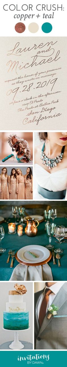What happens when you put two show-stopping colors together? A wedding look that's absolutely unforgettable! Copper shines its way onto center stage no matter where you put it and teal sets the tone for something gorgeous. Get ready to be inspired.
