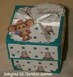 Exploding box tutorial using birthday stamps, sentiments and papers from www.digitaldelightsbyloubyloo.com