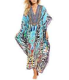 9bc18c2957 La Moda V-Veck Elbow Sleeve Zebra Art Maxi Cover Up Women's Swimsuits &  Cover