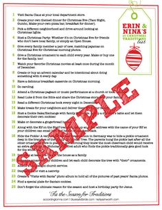 a great list of ideas for Christmas activities/traditions