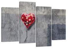 Banksy bandaid heart balloon/set of 4 new canvas prints/ 34x22 in by canvasprinthouse on Etsy https://www.etsy.com/listing/219278943/banksy-bandaid-heart-balloonset-of-4-new