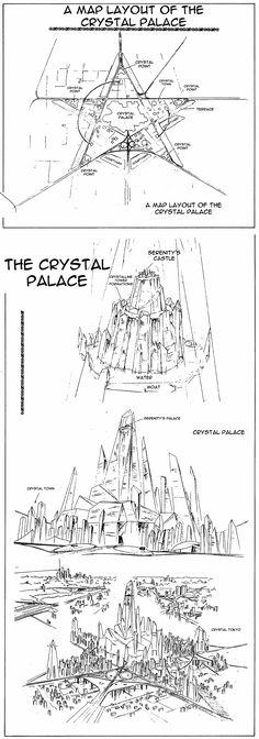 "Map of the Crystal Palace from ""Sailor Moon"" series by manga artist Naoko Takeuchi. #SailorMoon #anime #manga"