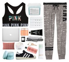 """work from home"" by omgjailah ❤ liked on Polyvore featuring Davines, Sara Happ, Christy, TokyoMilk, philosophy, adidas, The Body Shop, Muuto, Diptyque and La Mer"