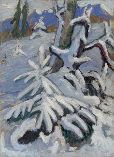 Gabriele Münter (German 1877–1962) [Expressionism] Winter Scene, 1933. Oil on board, 17 11/16 × 13 inches (45 × 33 cm). Solomon R. Guggenheim Museum, New York.