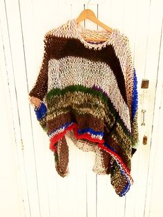 Multicolor stripe knitted sweater& poncho with by armarioenruinas, Crochet Jacket, Knitted Poncho, Knitted Fabric, Freeform Crochet, Knit Crochet, Knitting Patterns, Knitting Projects, Estilo Hippie, How To Purl Knit