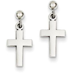 14kt White Gold Polished Cross Earrings, Adult Unisex, Size: 0