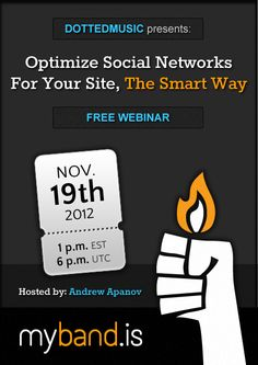 Dotted Music presents a free webinar for Myband.is users, hosted by Andrew Apanov. Know how to optimize your social networks!