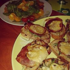 Baked bread with ham and parmaggio