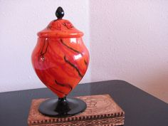 Czech Art Glass Covered Dish in Orange Black by NevermoreAntiques, $80.00