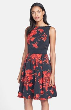 Taylor Dresses Floral Print Fit & Flare Dress