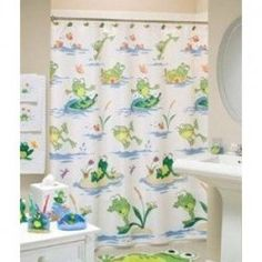 Frog Mania Bath Accessories, Shower Curtain     Product Description: The  Frogmania Bath Collection Features Frolicking Frogs Enjoying The Day With  Their ...